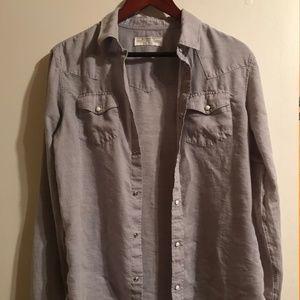 AllSaints Light Grey Button Up Shirt S